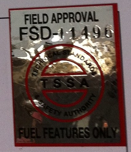 TSSA FIELD APPROVAL LABEL
